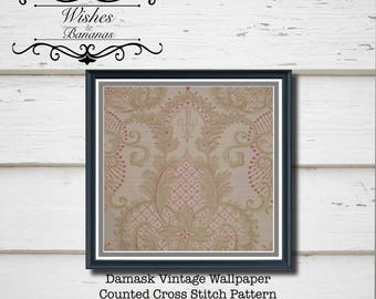 Damask Cross Stitch Pattern | Damask Vintage Wallpaper  |  Digital Download | PDF | Counted Cross Stitch | Wishes and Bananas