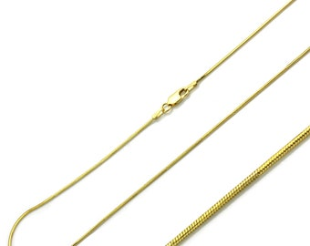0.8mm 925 Sterling Silver Snake Chain Necklace / 14K Gold Plated made in italy(PLRDSNK008YL)