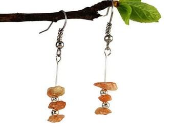 Sunstone earrings, dainty simple jewelry, silver dangle earrings, gemstone jewelry, dainty simple earrings, natural sunstone jewelry vyc