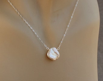 Petal Pearl Necklace, Single Pearl Necklace, Natural Pearl Necklace, Bridal Necklace, Real Keshi Pearl, Pearl Necklace in Sterling Silver