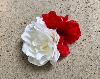 Gardenia and Red Silk Flower Hair Clip