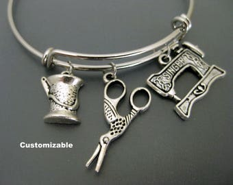 Seamstress Bracelet / Scissors Bangle / Sewing Machine  Bangle / Sewer Bangle / Spool of Thread / Quilt Maker / Charm Bracelet / Adjustable