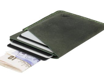 Card Sleeve / Minimalist Wallet - A-SLIM - Raw Green - Ninja - Credit Card Case - Card Wallet - Front Pocket Wallet - Up To 6 Cards