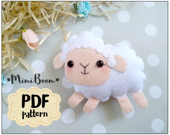 Felt sheep pattern Felt sewing sheep PDF tutorial sheep DIY plushies tutorial pdf sewing pattern DIY sheep ornaments pattern felt
