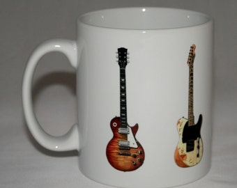 Blues-Rock Guitar Mug. 5 guitar illustrations.
