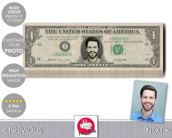 Dollar Bill Invitation - Dollar Invite - Dollar Bill Ticket - Dollar Ticket - Money Invitation - Money Invite - One Dollar Bill - Dollar