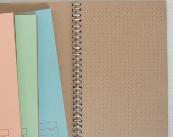 pressed travel notebook with kraft dot grid pages