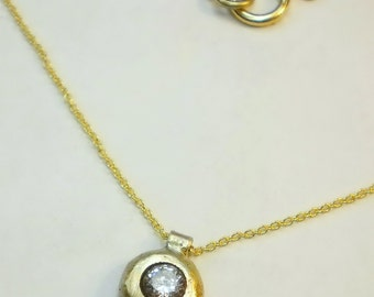 14K Solid gold necklace with zircon