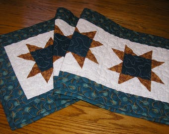 Quilted Table Runner, Stars in Teal and Brown,  14 1/2 x 39 1/2 inches