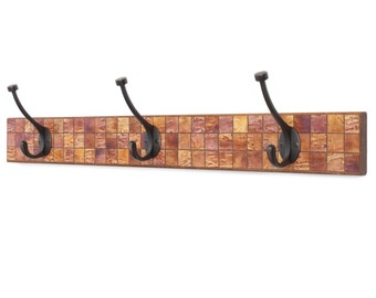 Mosaic Wall Coat Rack - Handmade Paper - Burnt Orange - Mosaic Tiles - Reclaimed Wood - Manly Decor - Clothes Hanger - Towel Rack