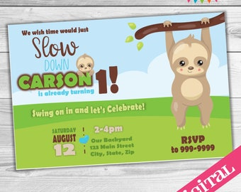 DIGITAL Sloth party invitation