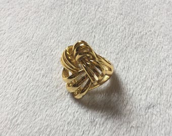 Women's Size 7 - Vintage 1990s Gold Stainless Steel Knotted Statement Ring