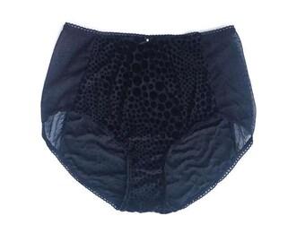 Black panties in stretch velvet dots  -  retro panties - High waist panties