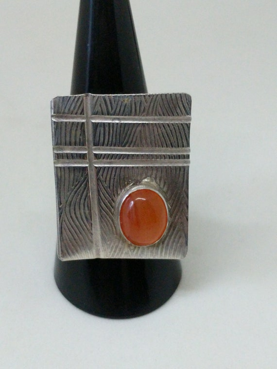 Carnelian Lined and Textured Sterling Silver Ring