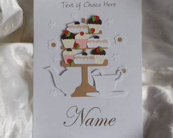 Afternoon Tea & Cakes, Cupcake Stand Birthday Card 30th 40th Any Age/No Age With Your Choice of Text