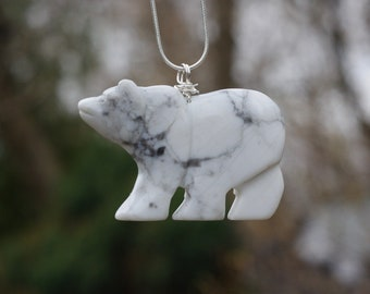 White Howlite Bear Necklace ~  Large Carved Polar Bear Pendant ~ Walking Bear ~ Stone Jewelry ~ Animal Lover Gift ~ Snowy Bear ~ Graduation