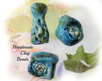 Handmade rustic beads - handmade blue clay beads , chunky clay beads supplies, set of 3 beads - Handmade Artisan Beads   # 170