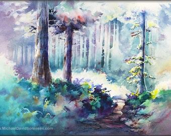 Pathway to Neahkahnie - Watercolor Painting Print by Michael David Sorensen. Hiking Trail. Watercolor Trees. Path. Green. Purple. Oregon