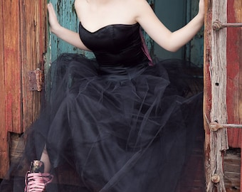 Black Satin & Net Ball Gown / Prom Dress - SALE!
