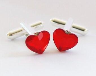 Valentines Day Gift for Him, Swarovski Cuff Links, Red Heart, Red Cufflinks, Groom Gift, Groom Cufflinks, Crystal Anniversary Gift, Wedding