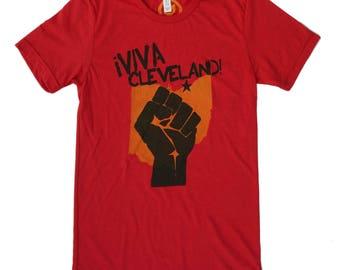 Unisex Solid Red Tri-Blend Supersoft Tee - 'Viva Cleveland!'