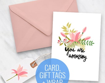 Printable Card with Gift Tags and Belly Band Wrapping Paper included - Magnolia Design - Printable gift tags, printable gift wrap