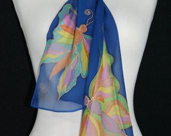 Blue Silk Scarf. Butterfly Hand Painted Silk Shawl. Handmade Chiffon Silk Scarf SPRING BUTTERFLIES Size 8x54. Birthday Gift, Bridesmaid Gift