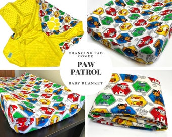 Paw Patrol Baby Contour Changing Pad Cover & Baby Blanket Set  / Baby Nursery