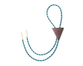 ROPE TIE Bolo - Blue Braided Leather + Triangle Victorian Blackwood +  Brass Bolo Tie