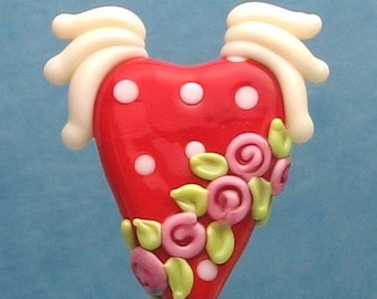 Made to order Margo lampwork beads heart with wing