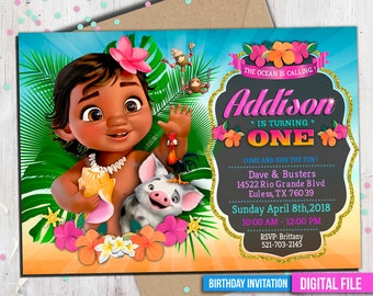 Baby Moana Invitation, Moana Invitation, baby Moana, Moana summer invitation, Moana summer party, Moana Party Invite, to Any age. M046