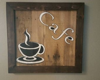 Handmade Cafe Sign Made From Reclaimed Natural Wood.  Kitchen decor, cafe art decor, coffee signs, gift for her, rustic wood.