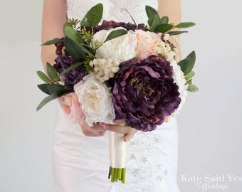 Silk Wedding Bouquet, Rustic Bouquet, Greenery Bouquet, Peony Bouquet, Plum Bouquet, Silk Bouquet, Wedding Bouquet, Wedding Flowers