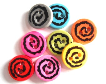 Button 3/4 inch Rocker Rounds handmade polymer clay buttons ( 6 )