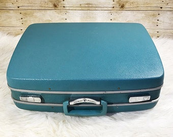 VINTAGE Samsonite Royal Traveller Blue Medallist Top Handle Retro Suitcase Luggage With Keys
