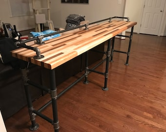 Industrial Black Pipe Butcher Block Couch Table.