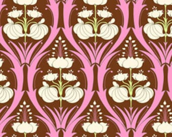 SALE Amy Butler - Soul Blossoms Collection - Passion Lily in Mulberry - freespirit cotton quilting clothing brown pink flower