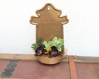 Succulent Planter Vintage Brass Wall Planter packed with Live Succulent Plants Rustic Miniature Succulent Garden Succulents