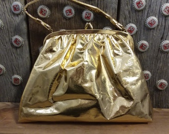 Vintage purse gold handbag with strap