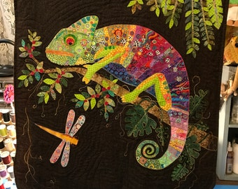 Chameleon Collage Art Quilt wall hanging