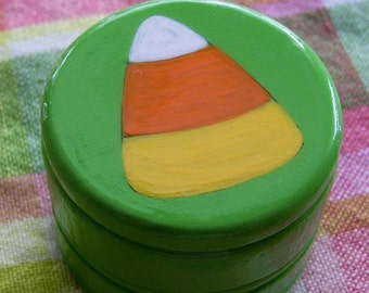 Hand Painted Love Boxes Halloween Candy Corn Green Box Wood
