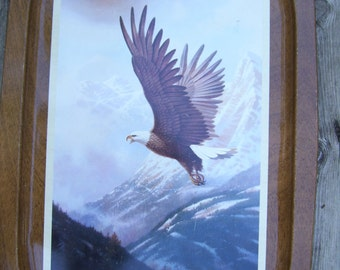 Vintage Bald Eagle Tray by Tom Heflin Wood Grain Muted Colors Rectangle Mid Century Serving Tray