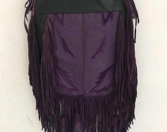 Hand made fringe leather bag