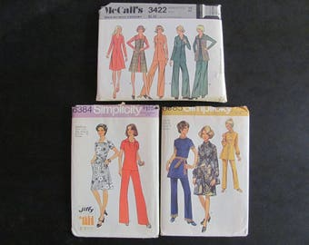44 bust 3 Patterns McCalls 3422, Simplicity 6384 and 9085, Vintage 1970s / A line Dress, Shift Dress, Pants, Tunic Top, 70s retro large size