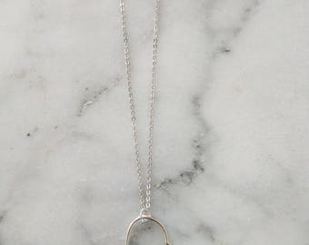 Silver Heart Necklace | Heart Necklace | Long Pendant Necklace Long Layering Necklace Sweetheart Necklace I Love You Necklace with Pendant
