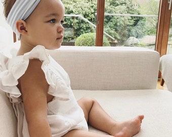 Blue Stripe Headband / Baby Headband/Toddler Headband/Baby Shower/Baby Bow/Newborn Gift/Baby Gift/Blue stripe Headband