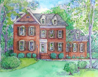 HOUSE Portraits,Custom Original Watercolor of your home or special building,hand painted from your photo