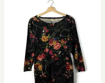 ON SALE Vintage Black  x Floral Long Sleeve Dress from 80's*
