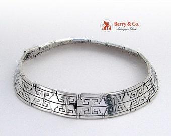 SaLe! sALe! Aztec Design Choker Necklace Sterling Silver Mexico Signed RH