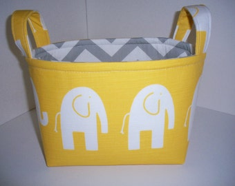 Small Diaper Caddy / Organizer Bin / Fabric Basket - Yellow Grey Elephants Zig Zag Chevron